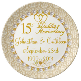 Personalized 15th Anniversary Porcelain Plate
