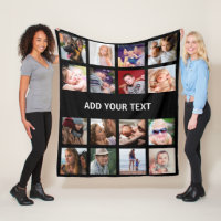 Personalized 16 Photo Collage Fleece Blanket