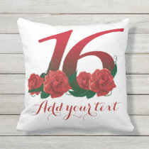 Personalized 16th 16 custom text Pillow