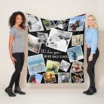 Personalized 17 Dad Photo Collage   Father's Day Fleece Blanket