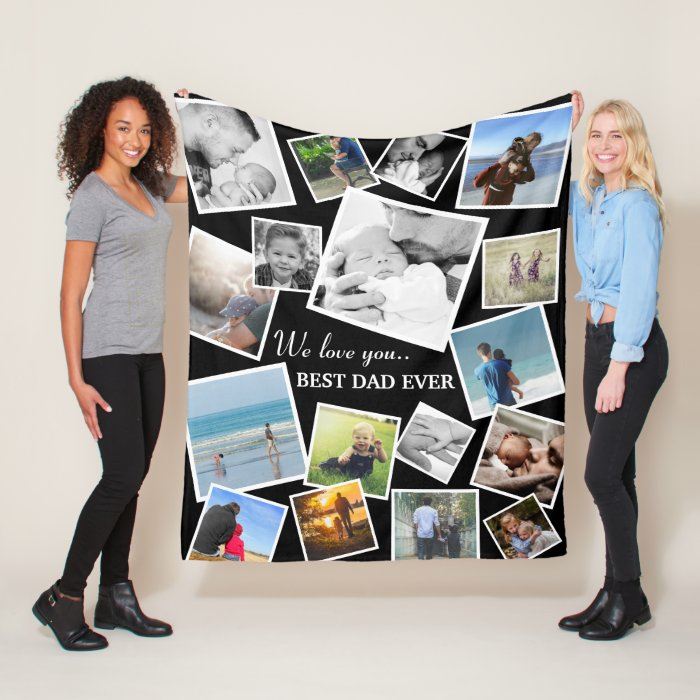 Personalized 17 Dad Photo Collage | Father's Day Fleece Blanket
