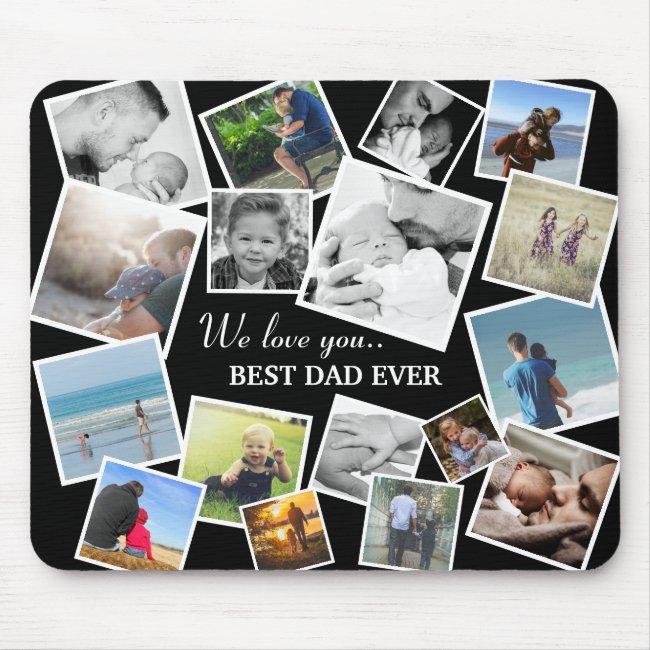 Personalized 17 Dad Photo Collage   Father's Day Mouse Pad