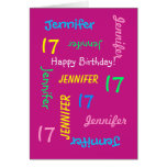 Personalized 17th Birthday Greeting Card, Hot Pink Greeting Card