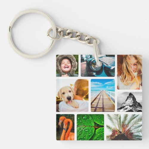 Personalized 18 Photo Collage Template Framed Keychain