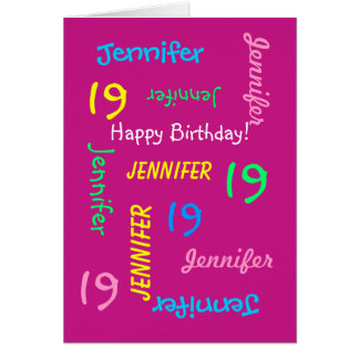 Personalized 19th Birthday Card Any Name, Pink