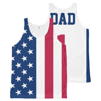 Personalized #1 Dad American Flag All-Over-Print Tank Top
