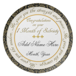 Personalized 1 Month Sobriety Display Plate