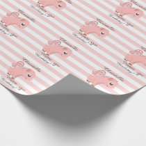 Personalized 1st Birthday baby girl flying piglet Wrapping Paper