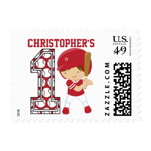 Personalized 1st Birthday Baseball Batter Red Postage