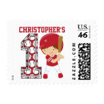 Personalized 1st Birthday Baseball Batter Red Stamp