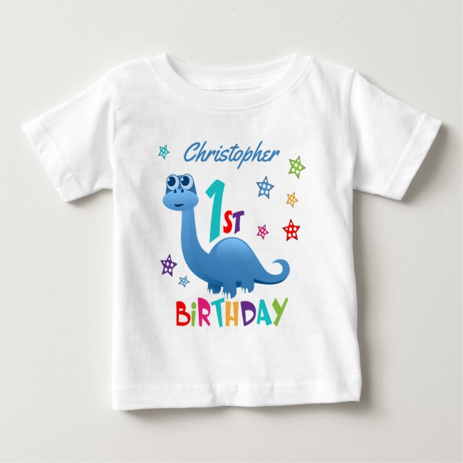 Personalized 1st Birthday Blue Dinosaur Baby T-Shirt