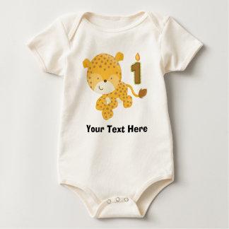 Personalized 1st Birthday Leopard Baby Bodysuit