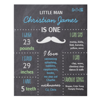 Personalized 1st Birthday lil Man Chalkboard Sign