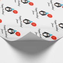 Personalized 1st Birthday penguin wrapping paper