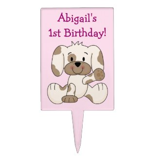 Personalized 1st Birthday Puppy Dog Cake Topper