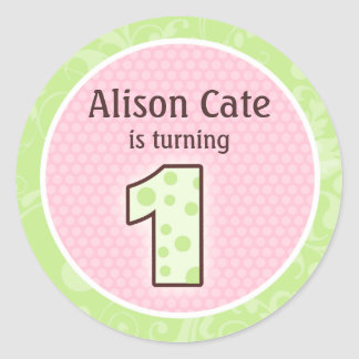 Personalized 1st Birthday Seal Round Stickers