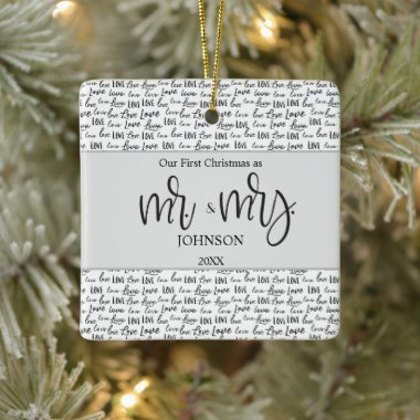 Personalized 1st Christmas Married love wedding Ceramic Ornament