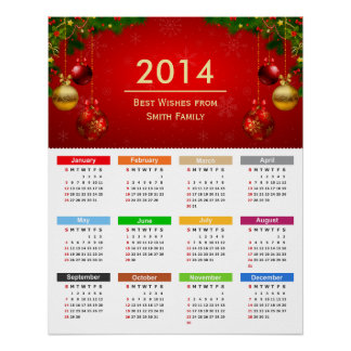Personalized 2014 Calendar with Custom Text Poster