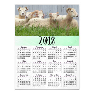Personalized 2018 Calendar Magnetic Sheep Card