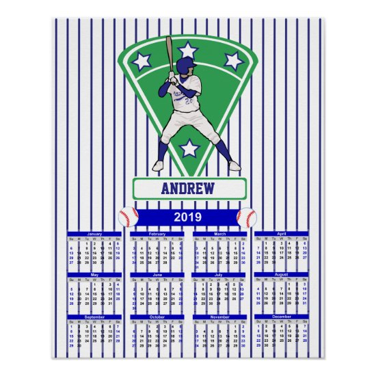 Personalized 2019 Baseball Calendar Poster