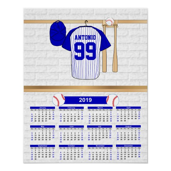 Personalized 2019 Baseball Locker room Calendar Poster