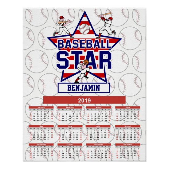 Personalized 2019 Baseball Player Calendar Poster
