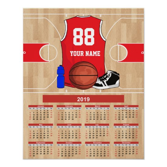 Personalized 2019 Basketball Player Calendar Poster
