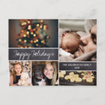 """Personalized 2019 Happy Holidays Photo Christmas Holiday Postcard<br><div class=""""desc"""">Your beautiful family photos deserve to be shared during this time of year as you send warm wishes. Customize this modern collage design & personalize with your family greeting. Find the other pieces from the collection.</div>"""