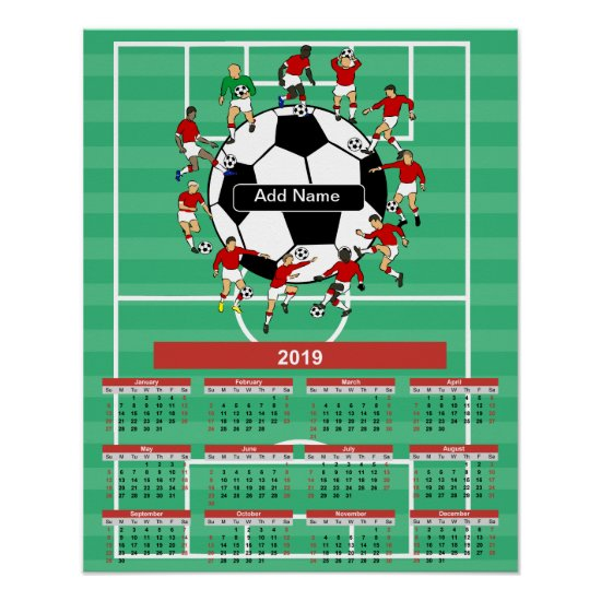 Personalized 2019 Soccer Player Calendar 2 Poster