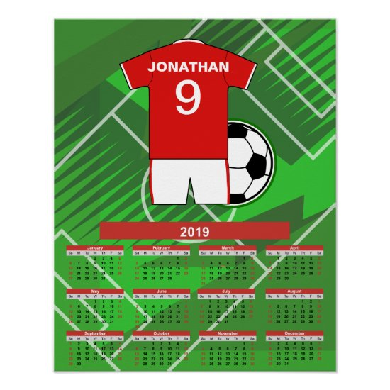 Personalized 2019 Soccer Player Calendar Poster
