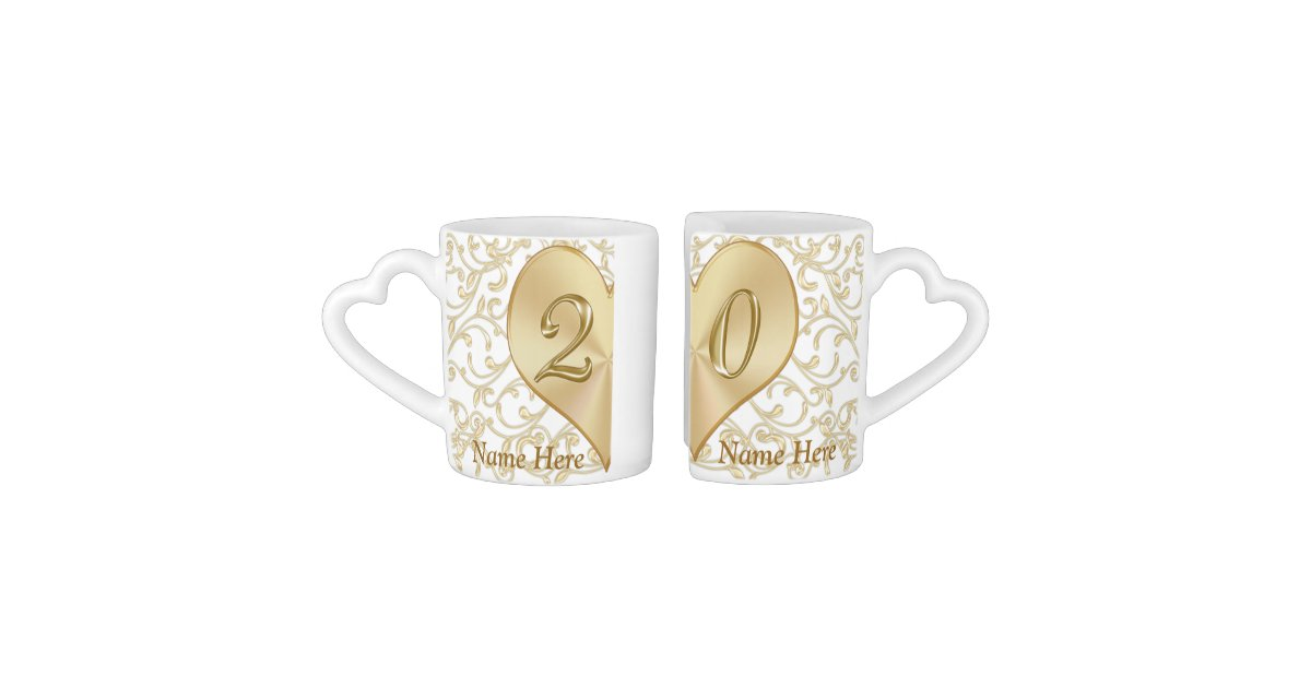Wedding Anniversary Gifts 20 Years: Personalized 20 Year Wedding Anniversary Gift Mugs