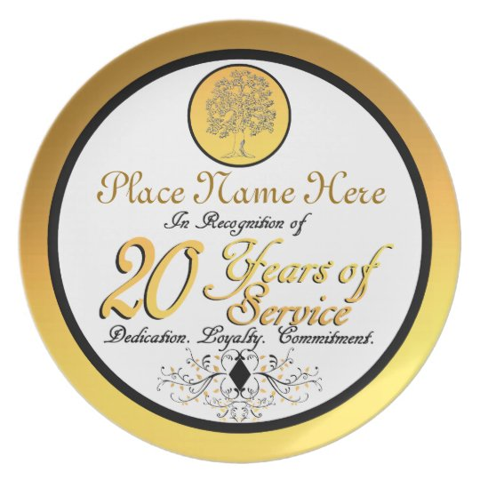 Personalized 20 Years Of Service Plate Plaque Dinner Plate