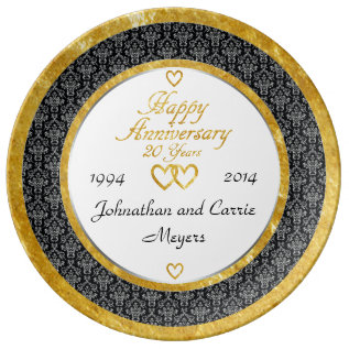 Personalized 20th Anniversary Porcelain Plate at Zazzle