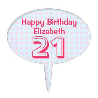 Personalized 21st Birthday Cake Decor Pink Dots Cake Topper