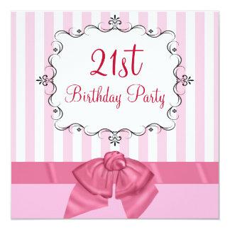 "Personalized 21st Birthday Party Invitations 5.25"" Square Invitation Card"