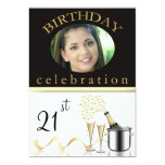 Personalized 21st Birthday Party Photo Invitations