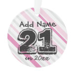Personalized 21st Birthday Pink Ornament