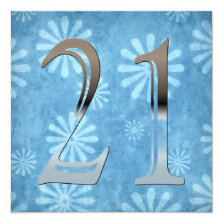 Personalized 21st Birthday Silver Number 21 Card