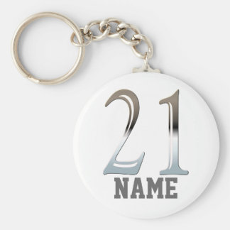 Personalized 21st Birthday Silver Number 21 Keychain