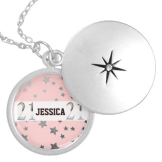 Personalized 21st Birthday Silver Number 21 Locket Necklace