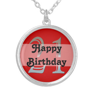 Personalized 21st Birthday Silver Number 21 Custom Necklace