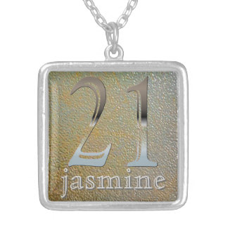 Personalized 21st Birthday Silver Number 21 Jewelry
