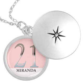 Personalized 21st Birthday Silver Number 21 Pendants