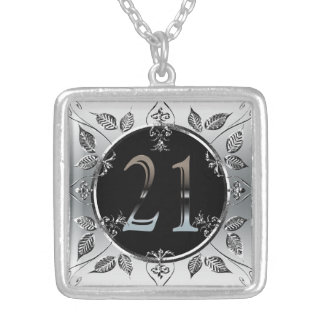 Personalized 21st Birthday Silver Number 21 Necklaces