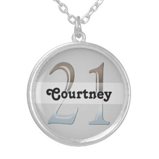Personalized 21st Birthday Silver Number 21 Necklace