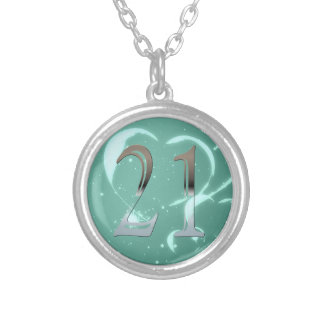 Personalized 21st Birthday Silver Number 21 Personalized Necklace