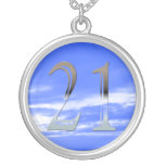 Personalized 21st Birthday Silver Number 21 Round Pendant Necklace