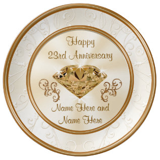 Personalized 23rd Anniversary Gift Or Any Year Porcelain Plate at Zazzle
