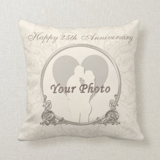 Personalized 25th Anniversary Gifts PHOTO and TEXT Throw Pillow
