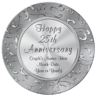 Personalized 25th Anniversary Plate, Porcelain Dinner Plate at Zazzle
